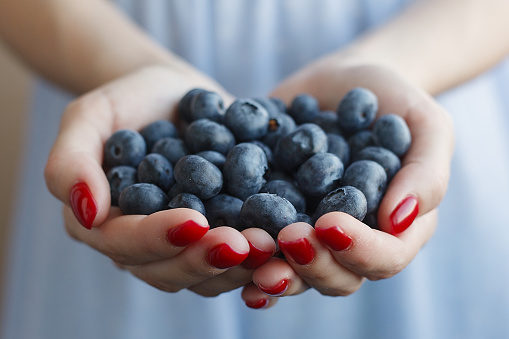 Caucasian woman holding blueberries in her cupped hands.