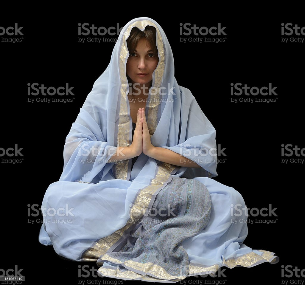 Caucasian woman in the Malaysian sari royalty-free stock photo