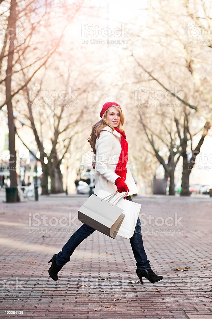 Caucasian woman shopping royalty-free stock photo