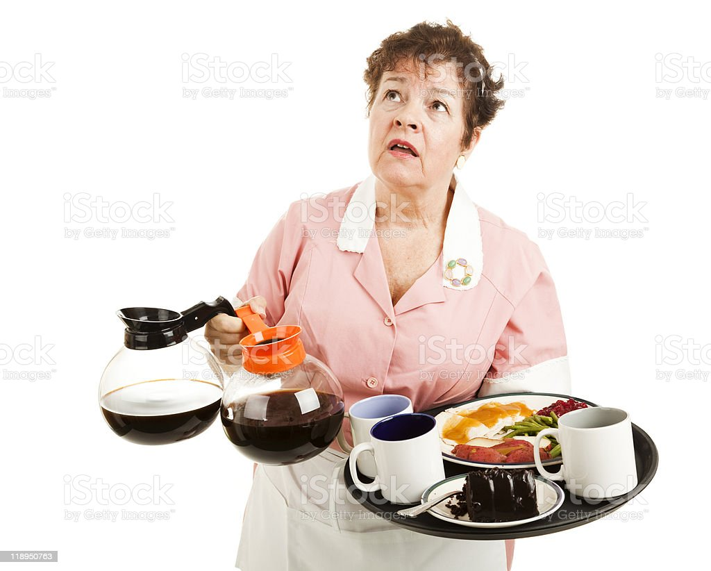 Caucasian woman waitress with hands full of coffee and food stock photo