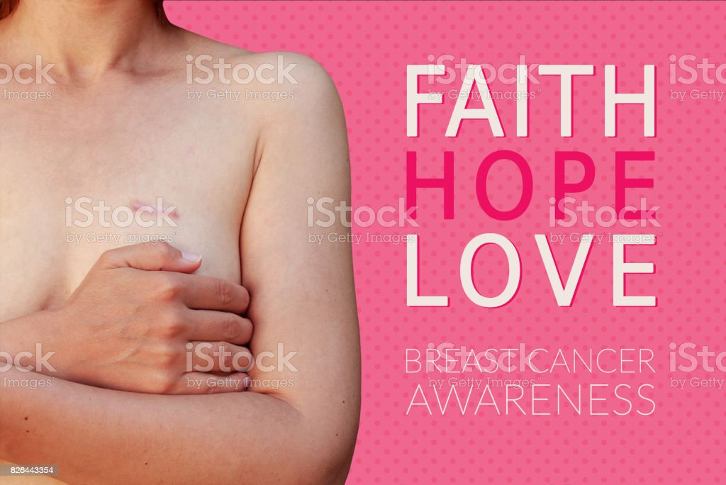 Caucasian woman with breast cancer scar on the pink background with text Faith Hope Love - Breast cancer awareness stock photo