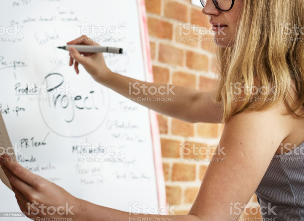 Caucasian woman writing project plan on white board royalty-free stock photo