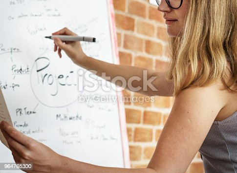 Caucasian Woman Writing Project Plan On White Board Stock Photo & More Pictures of Administrator