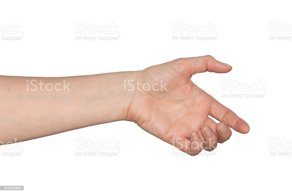 Caucasian woman's empty hand as if holding something. Isolated. stock photo