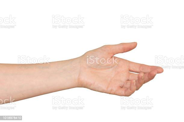 Caucasian Womans Hand In Outstretched Helpful Caring Gesture Isolated Stock Photo - Download Image Now