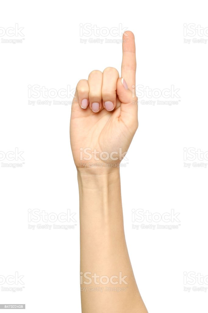 Caucasian woman's hand pointing, touching, pressing or counting isolated on white stock photo