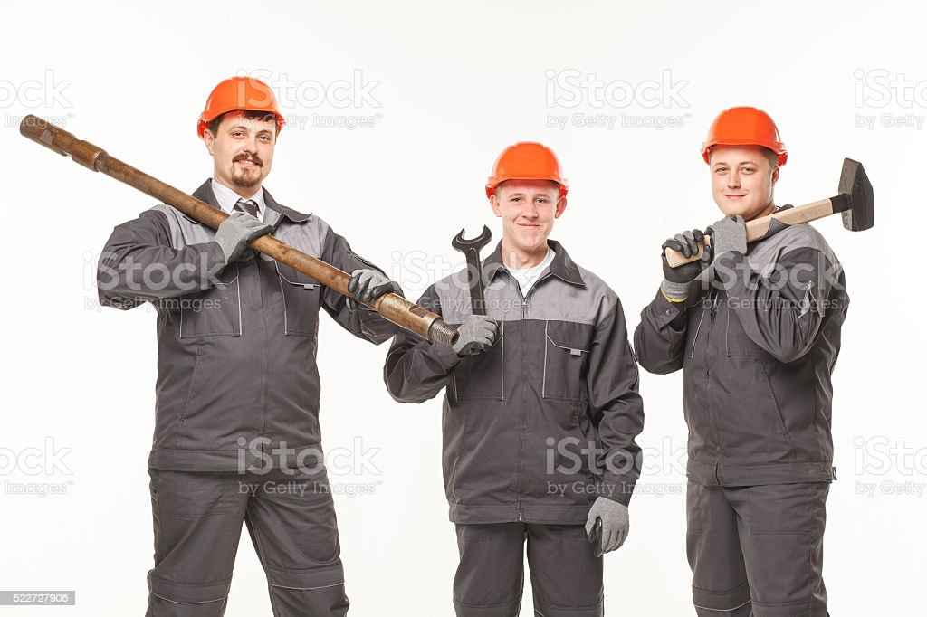 caucasian young different manual worker collection isolated on white stock photo
