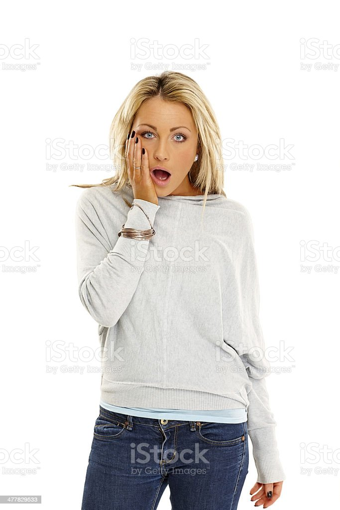 Caucasian young girl looking shocked over white royalty-free stock photo