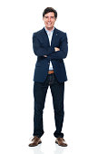 istock Caucasian young male business person standing in front of white background wearing jeans 1225048850