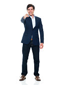 istock Caucasian young male business person standing in front of white background wearing business casual 1225049814