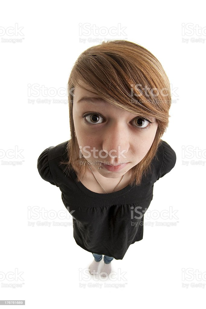 Caucasion Teenage Girl Asking for Something Cartoon Like Fisheye Effect royalty-free stock photo