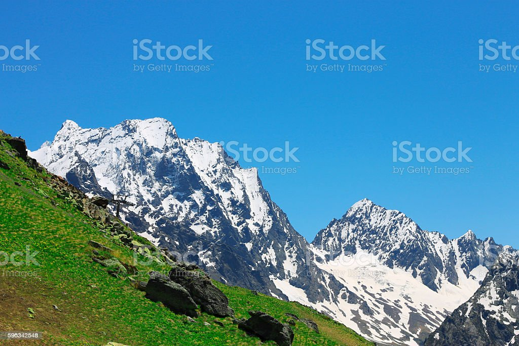 Caucasus mountains summertime. The Dombai mountain landscape royalty-free stock photo