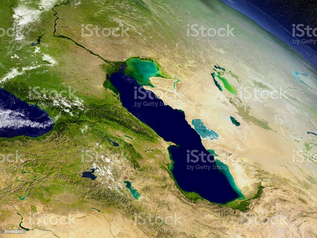 Caucasus region from space stock photo