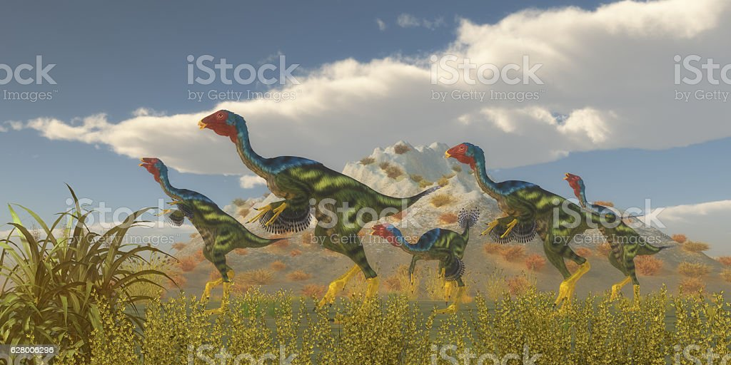 Caudipteryx Dinosaur Flock Caudipteryx was a dinosaur reptile bird that lived in China in the Cretaceous Period. Animal Stock Photo