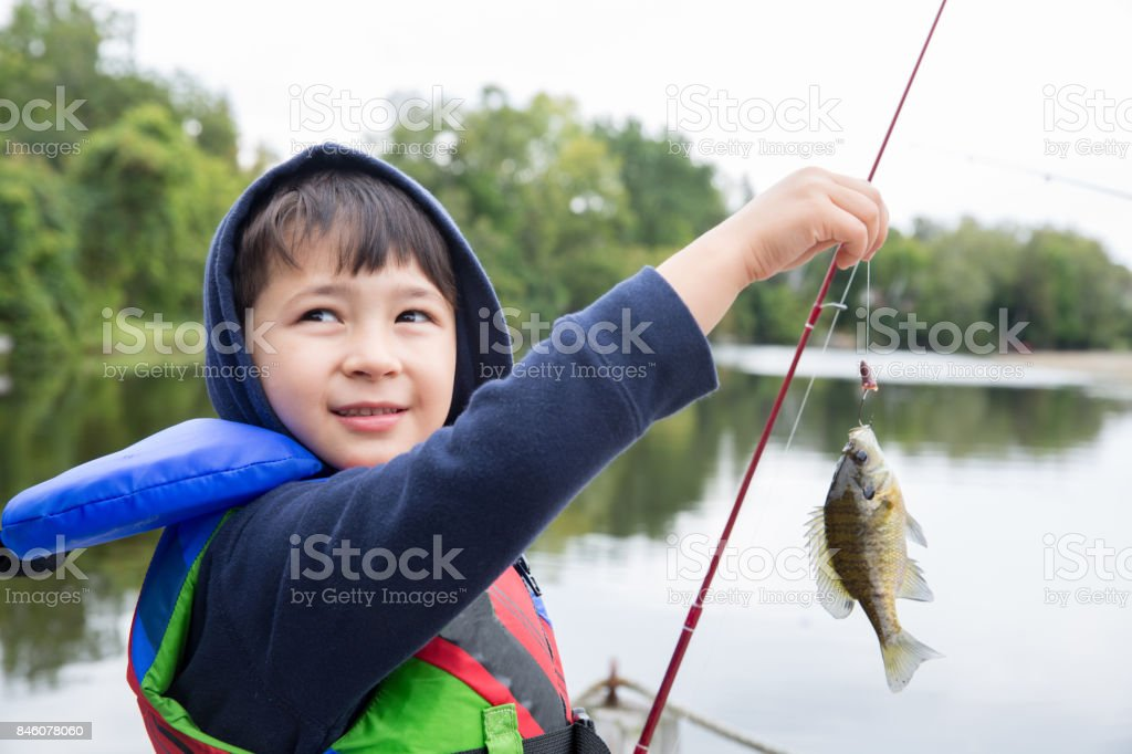 Caught A Fish stock photo