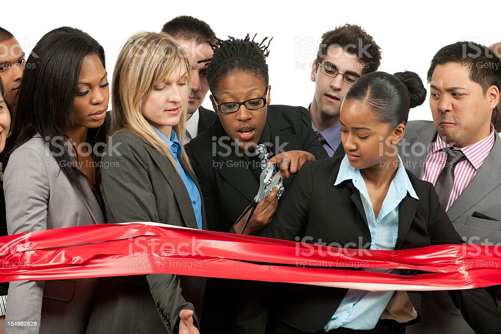 Caught behind the red tape stock photo