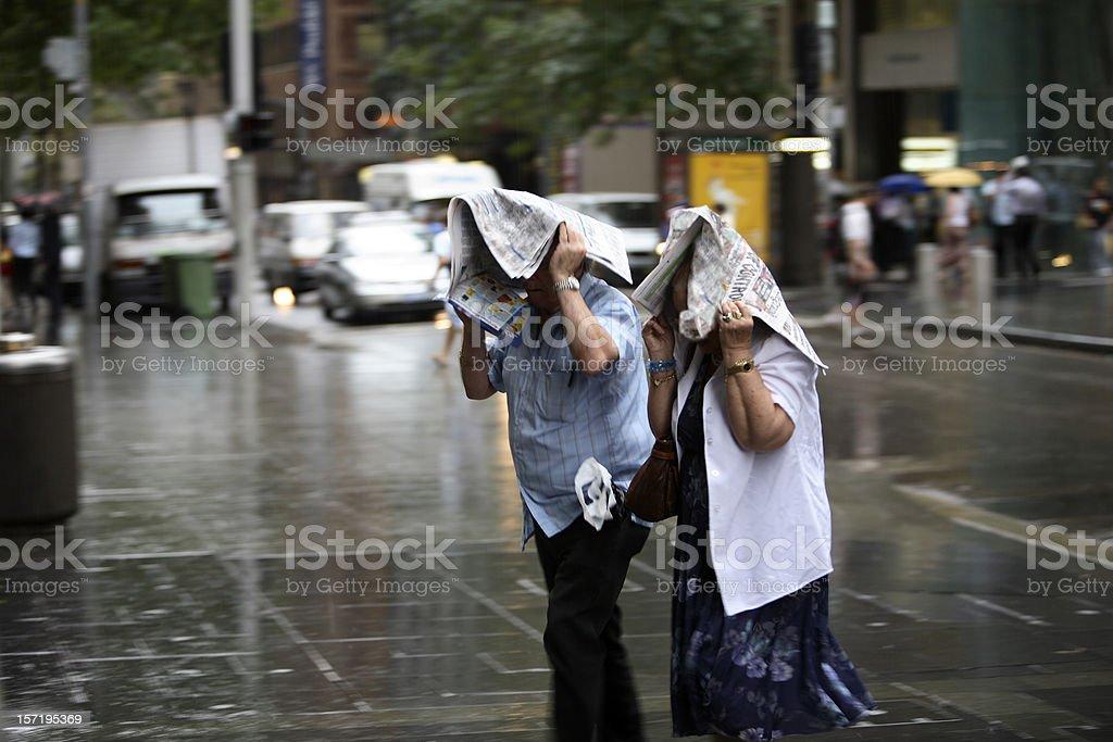 Caught In The Rain stock photo