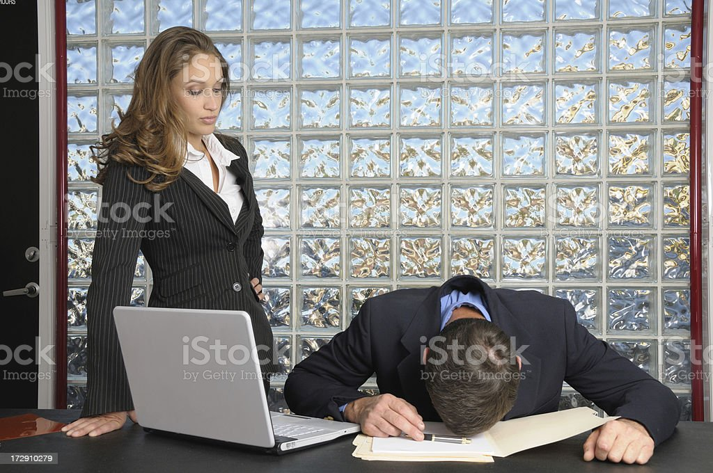 Caught sleeping on the job royalty-free stock photo