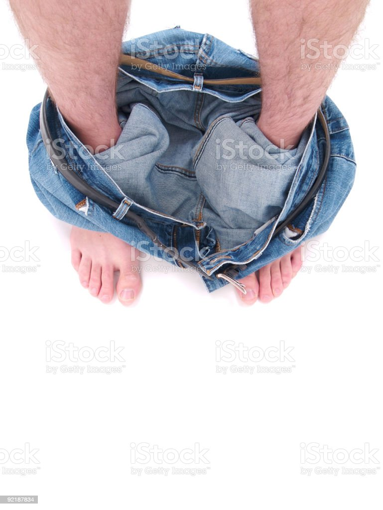 Caught with Pants down stock photo