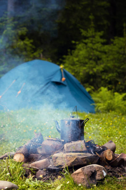 Cauldron and tent stock photo