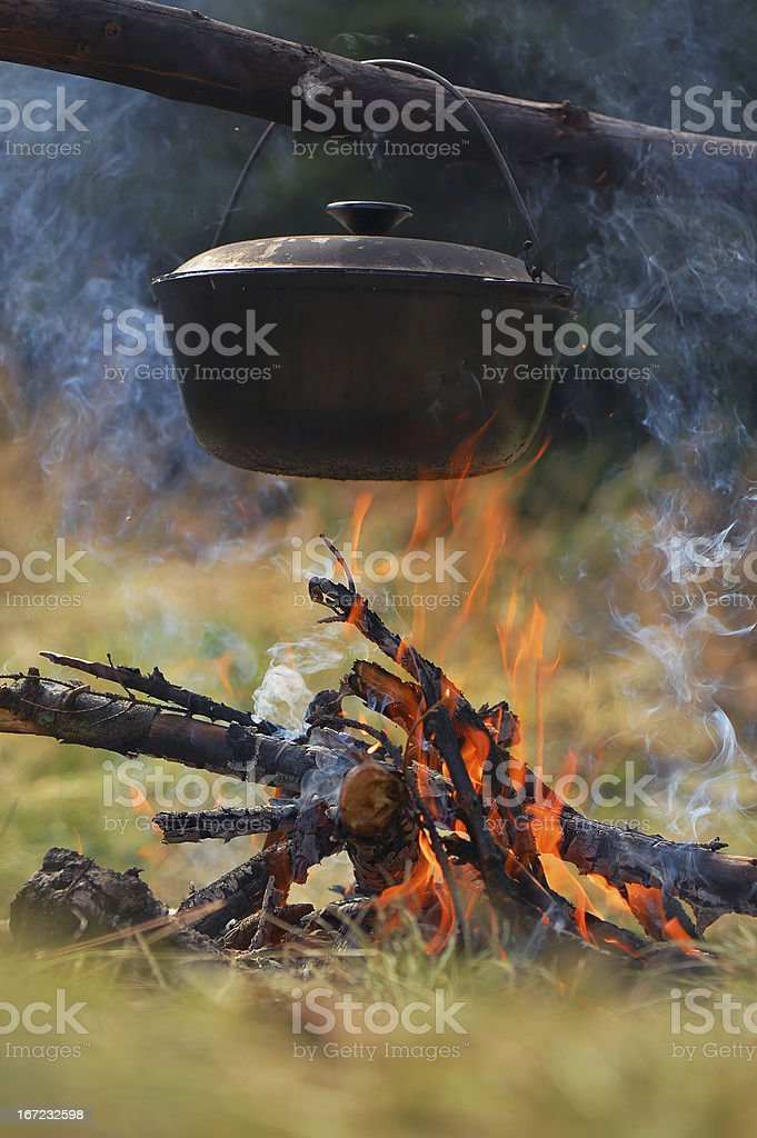 Cauldron on fire royalty-free stock photo