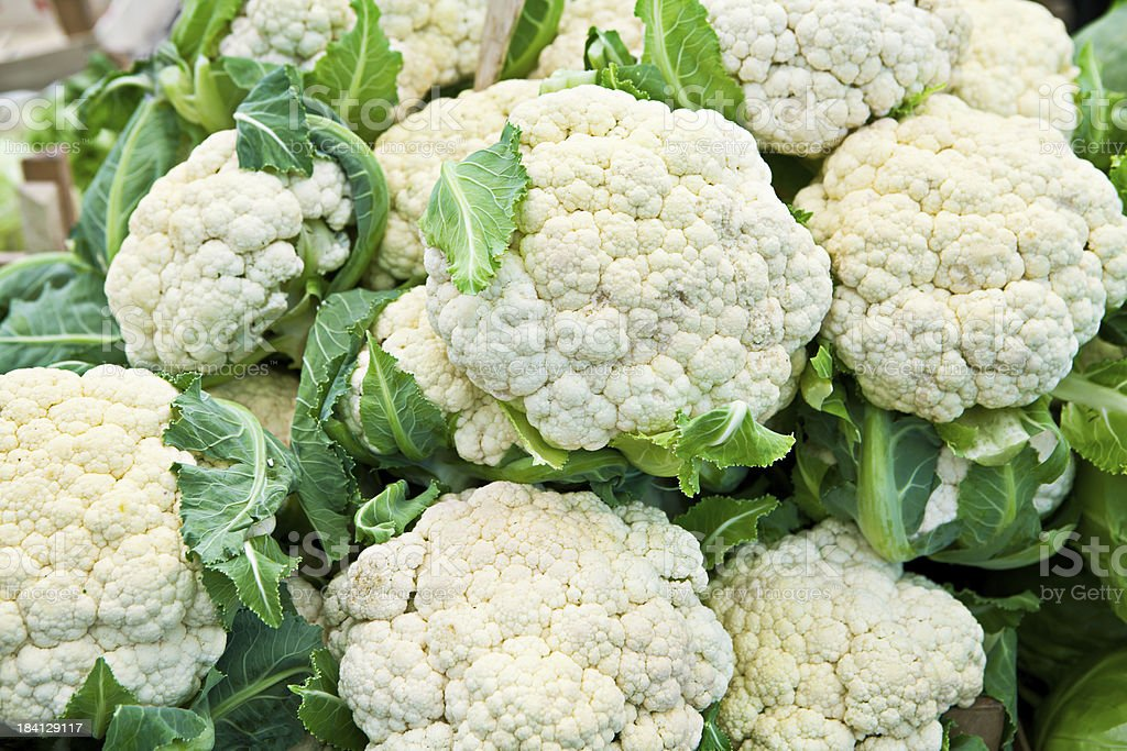 Cauliflower at the greengrocer royalty-free stock photo