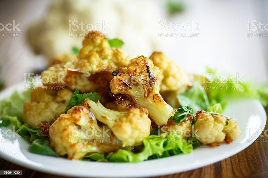 cauliflower baked in batter stock photo