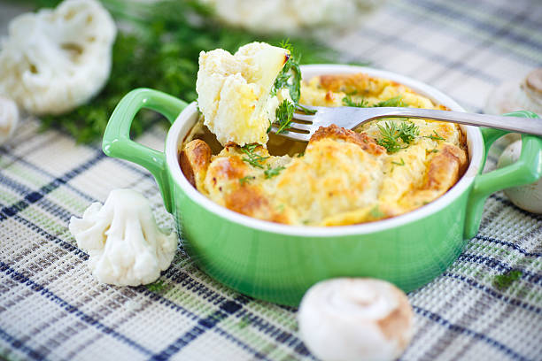 cauliflower baked with egg and cheese圖像檔