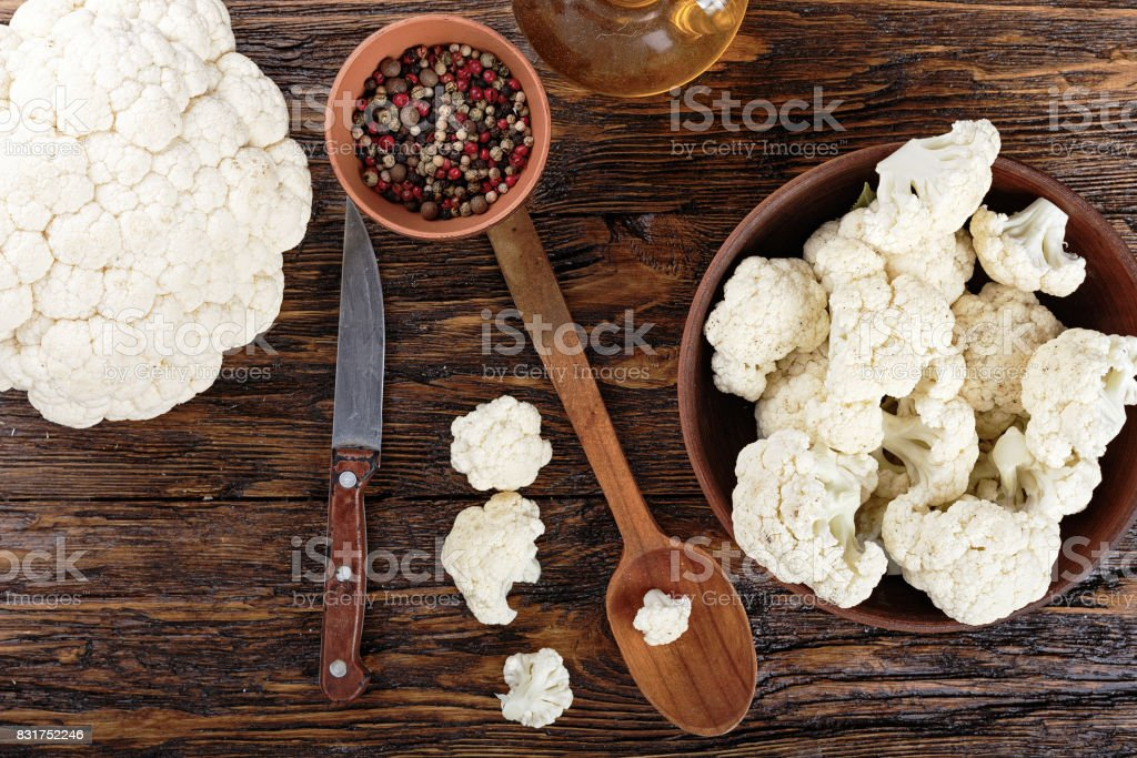 cauliflower in a clay plate stock photo