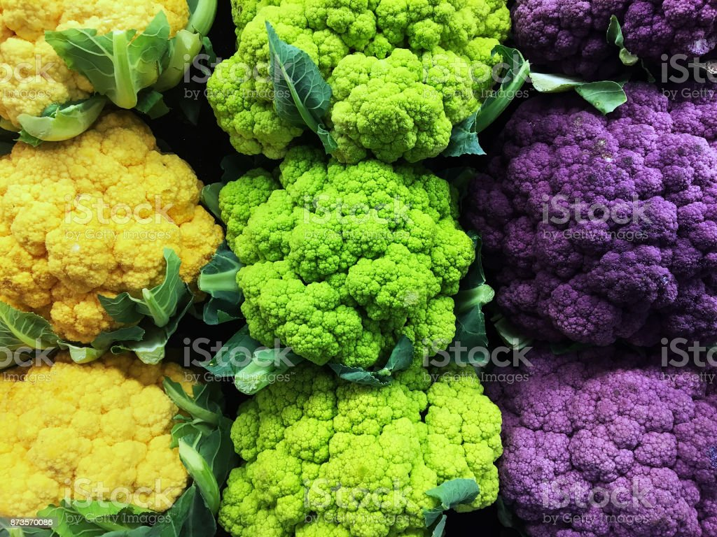 Cauliflower in Three Colors stock photo