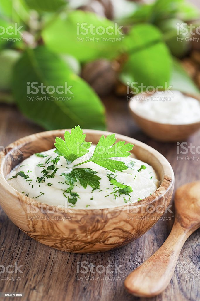 Cauliflower mashed potatoes stock photo