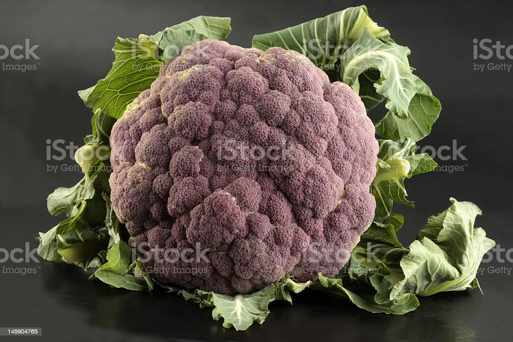 Cauliflower on black background royalty-free stock photo
