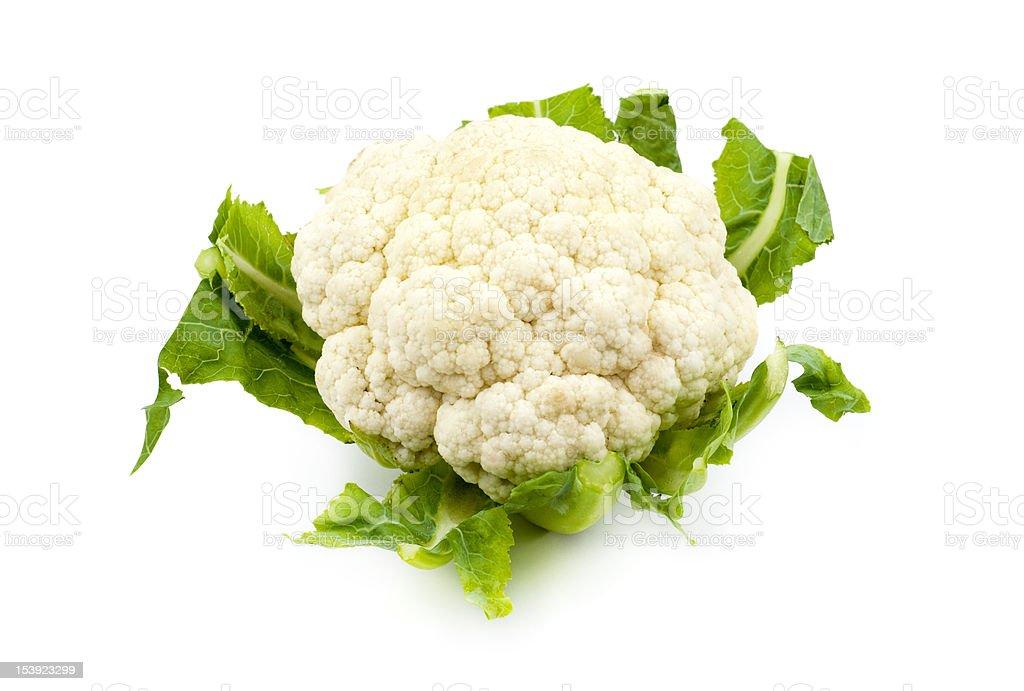 Cauliflower over a white background stock photo
