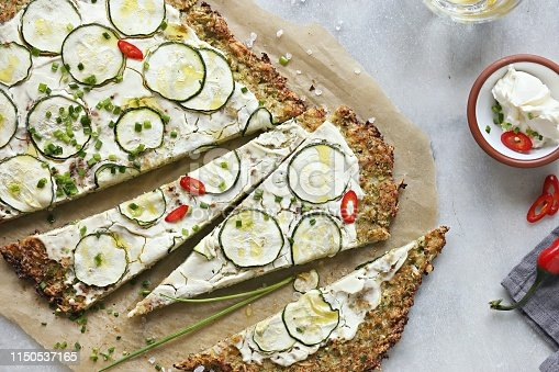Cauliflower Pizza Crust With zucchini, cream cheese and spring onion . Vegetarian, nut free, grain free, low carb.  Gluten free recipe  for low carb, plant based,clean eating diets concepts.