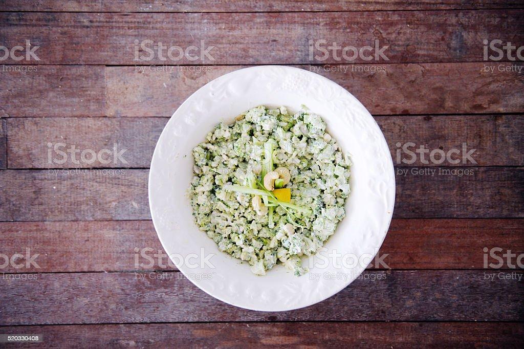 Cauliflower Rice with Cashews and Lemon stock photo