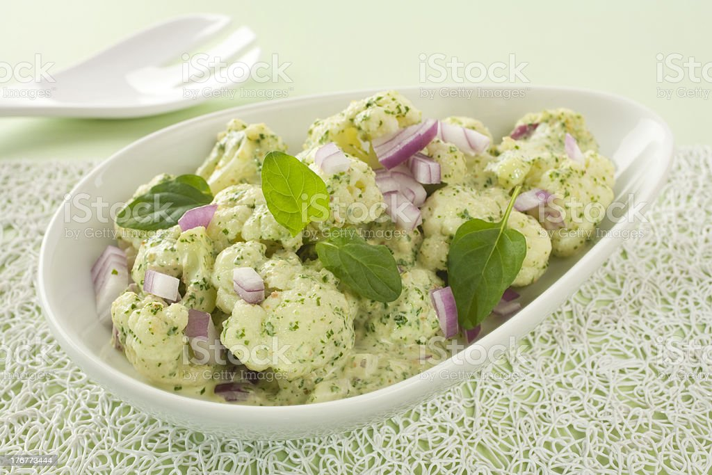 Cauliflower Salad with Spinach Pesto royalty-free stock photo