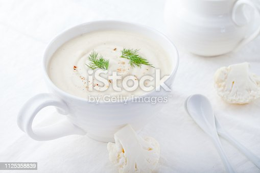 Cauliflower soup on a white background. Healthy food