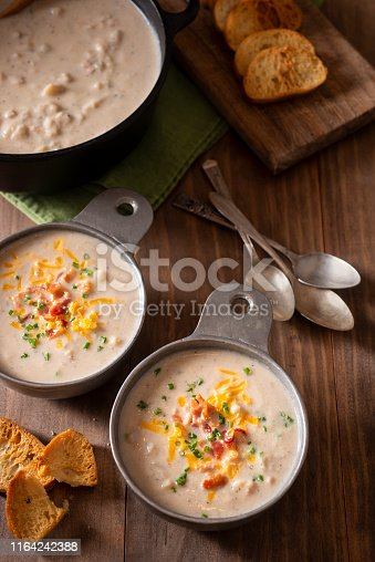 Roasted Cauliflower Soup with Bacon, Cheddar Cheese and Chives