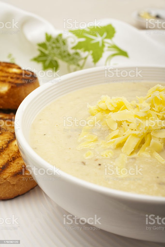 Cauliflower Soup Topped with Cheese royalty-free stock photo