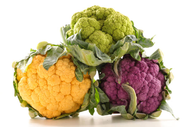 cauliflowers in tree colors stock photo