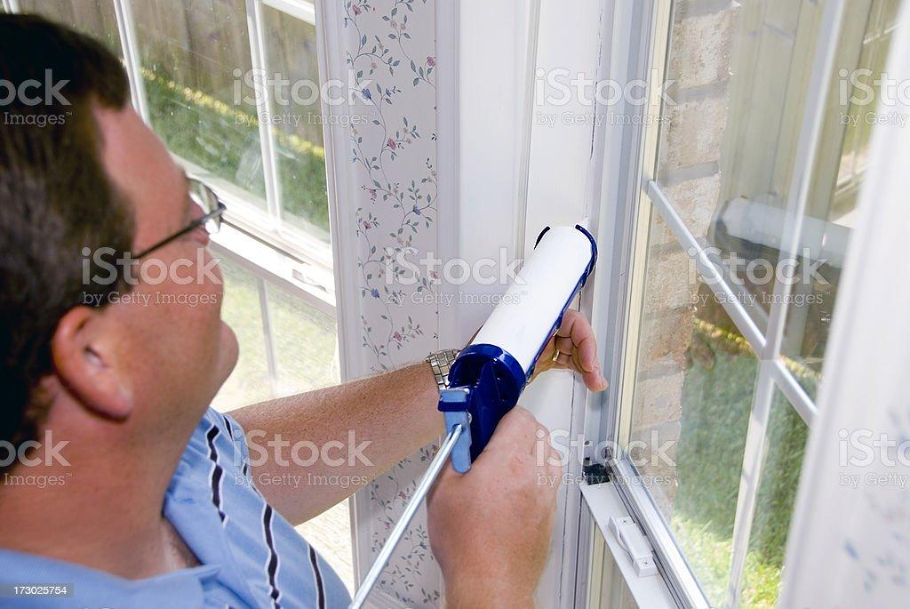 Caulking Window Frame stock photo