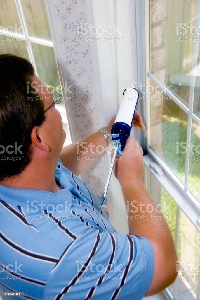 Caulking Window Frame royalty-free stock photo