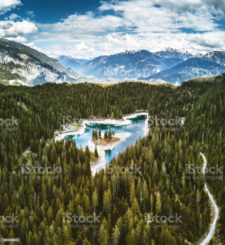caumasee lake in switzerland stock photo