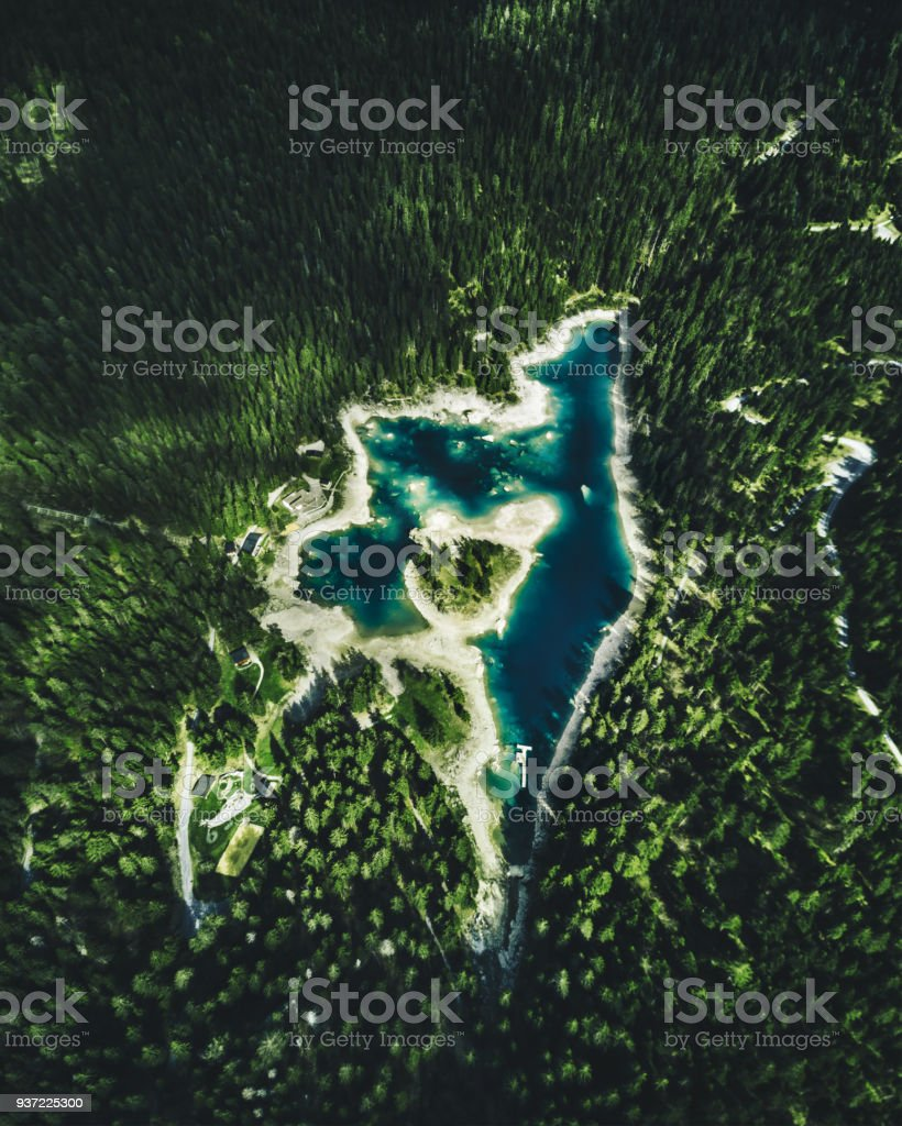 Caumasee lake in switzerland stock photo