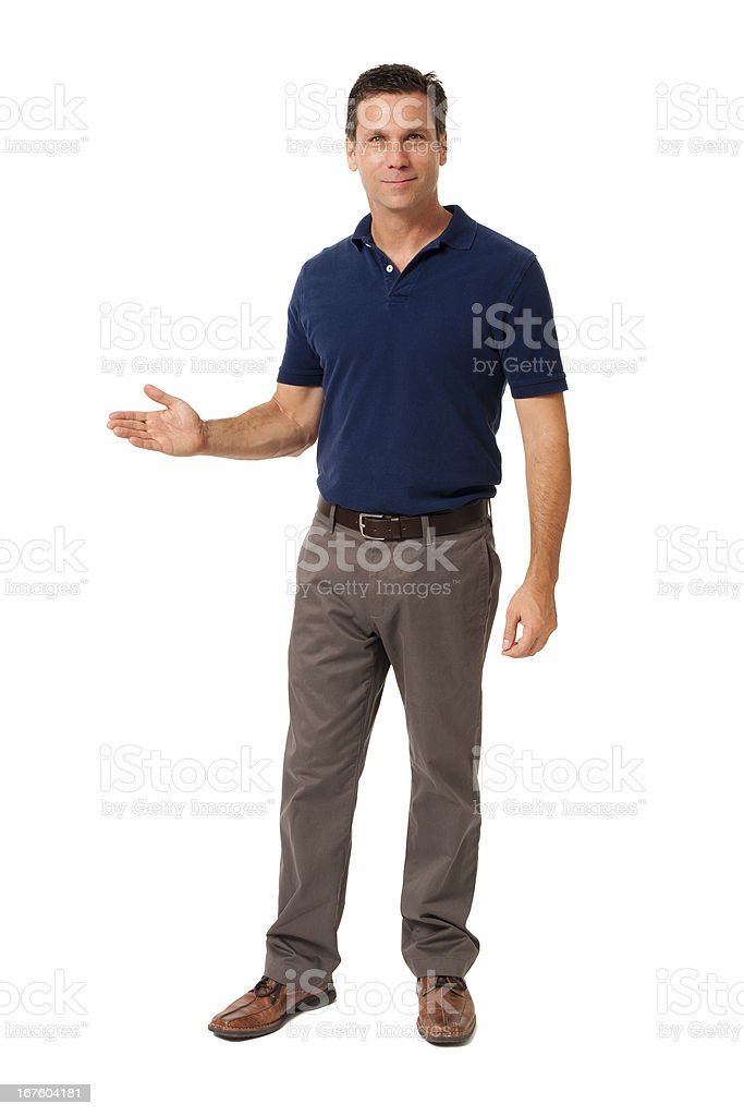 Causal Businessman Gesturing Showing Isolated on White Background stock photo