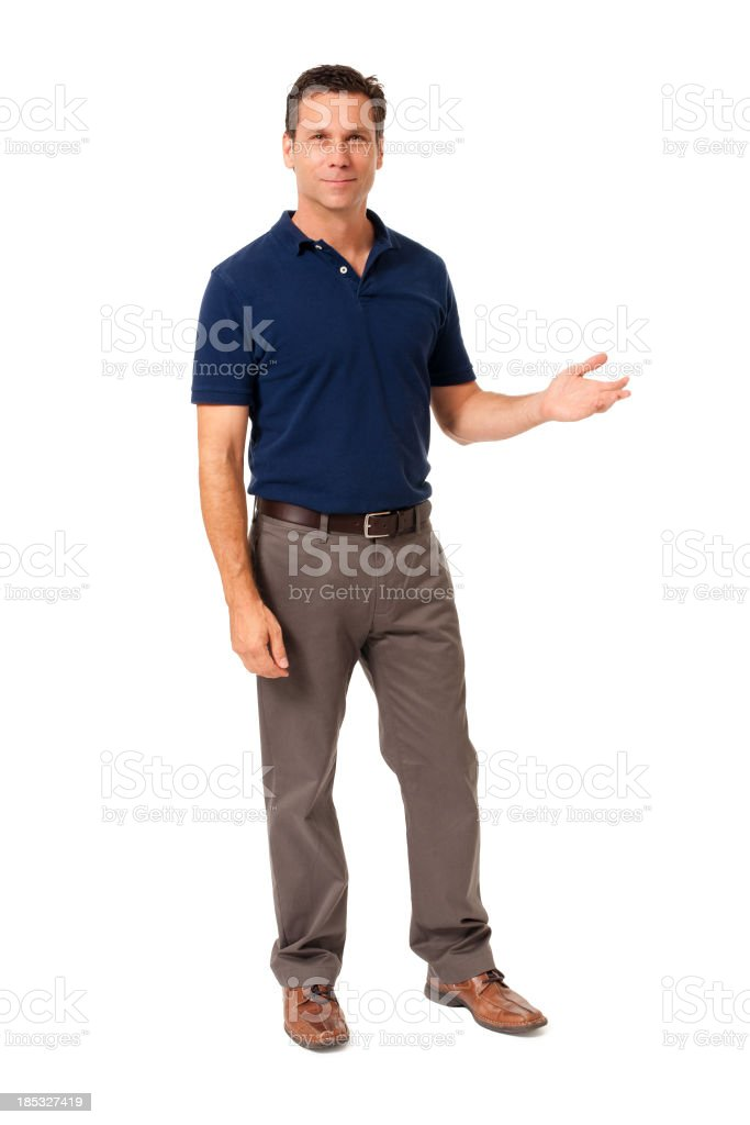 Causal Businessman Gesturing Showing Isolated on White Background royalty-free stock photo