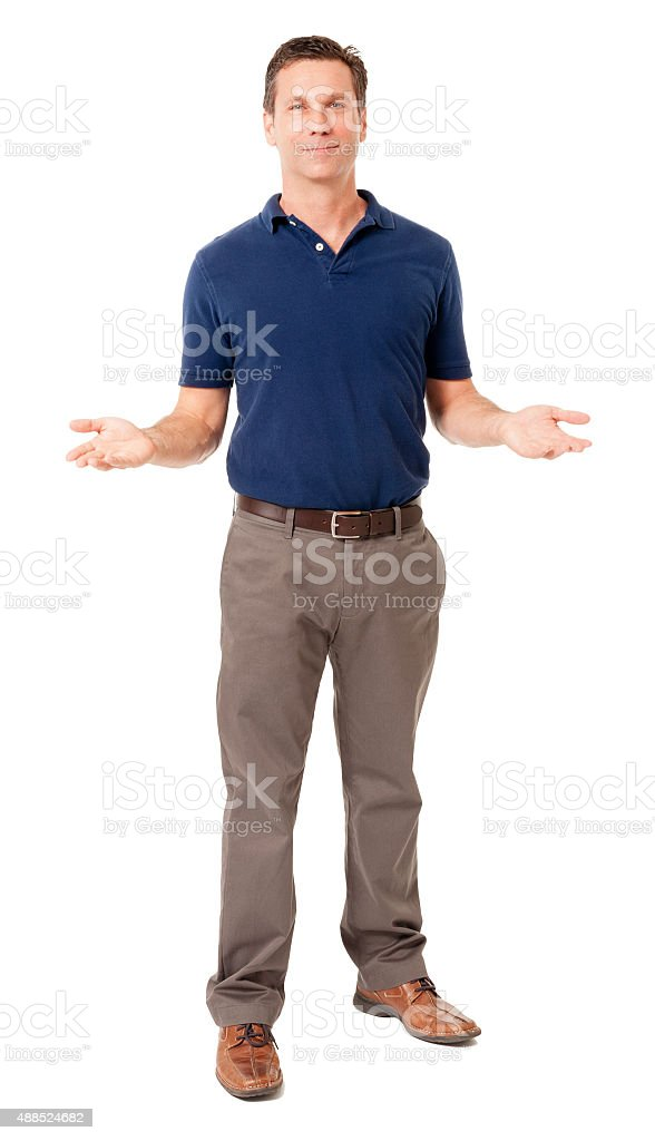 Causal businessman gesturing showing on white stock photo