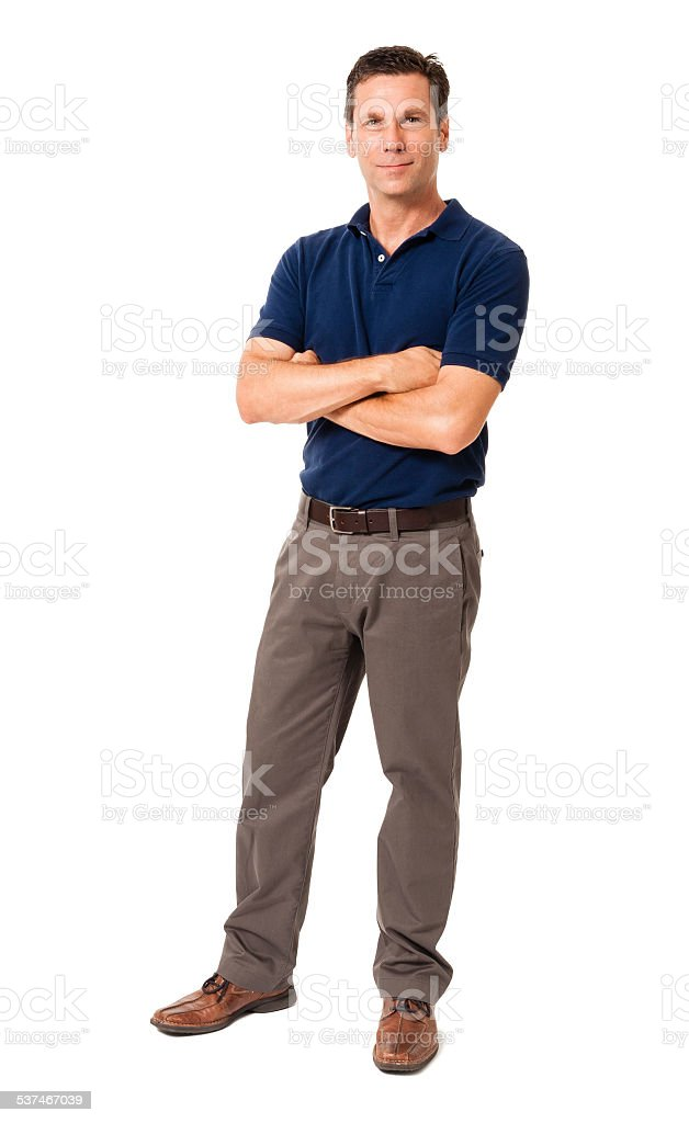 Causal Businessman Standing with Arms Crossed Isolated on White Background stock photo