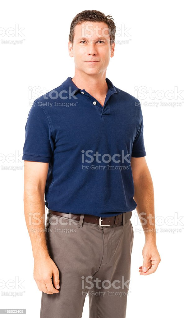 Causal Businessman with arms at sides on White stock photo
