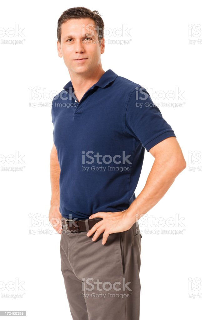 Causal Businessman with Arms Crossed Isolated on White Background royalty-free stock photo